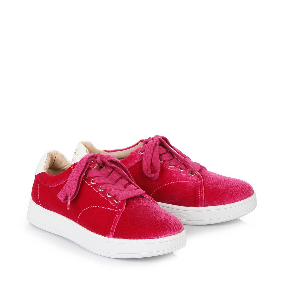 Jämlitz-Klein Düben Angebote Buffalo Samt-Sneaker in pink mit weißer Sohle