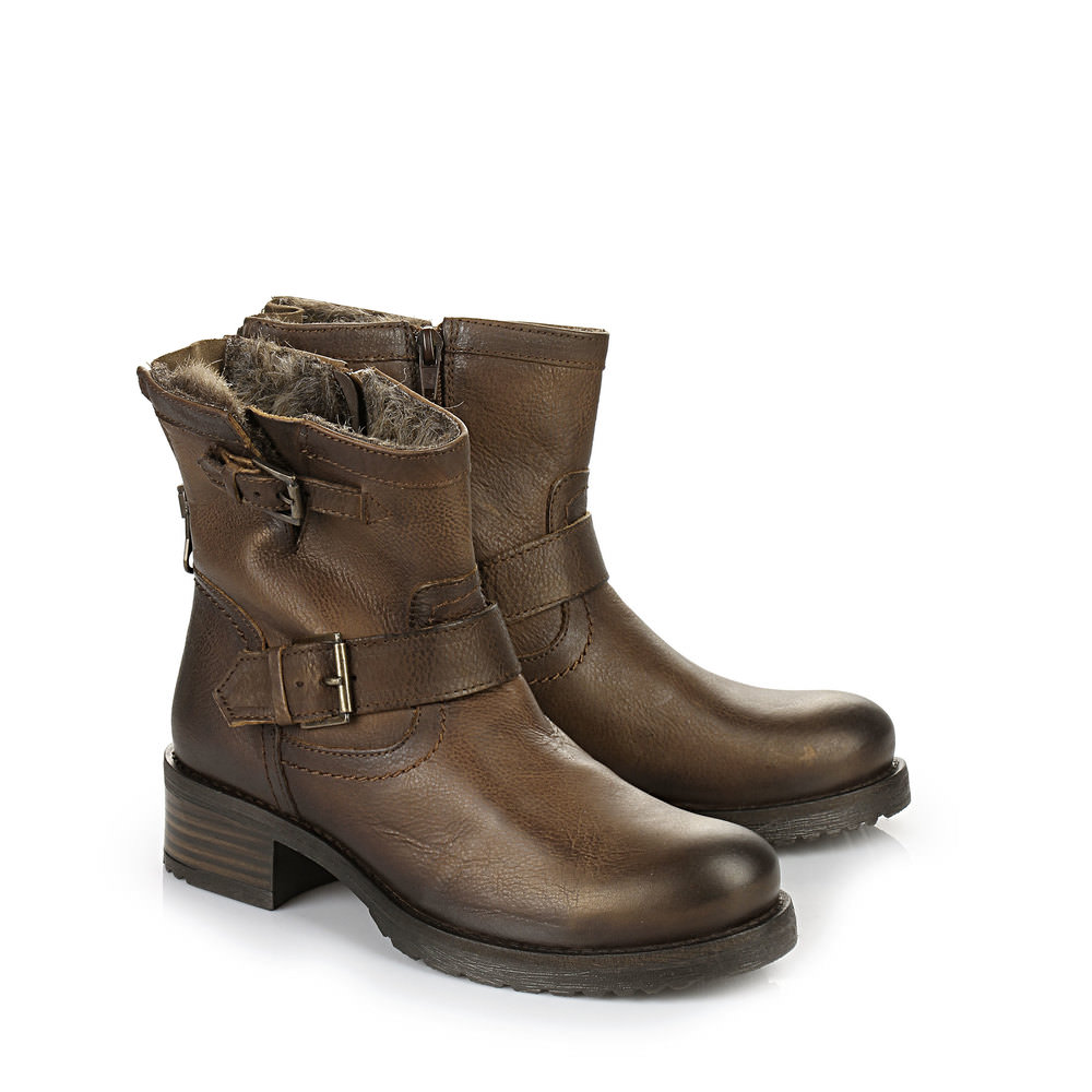 Gefütterte Buffalo Biker Booties in braun