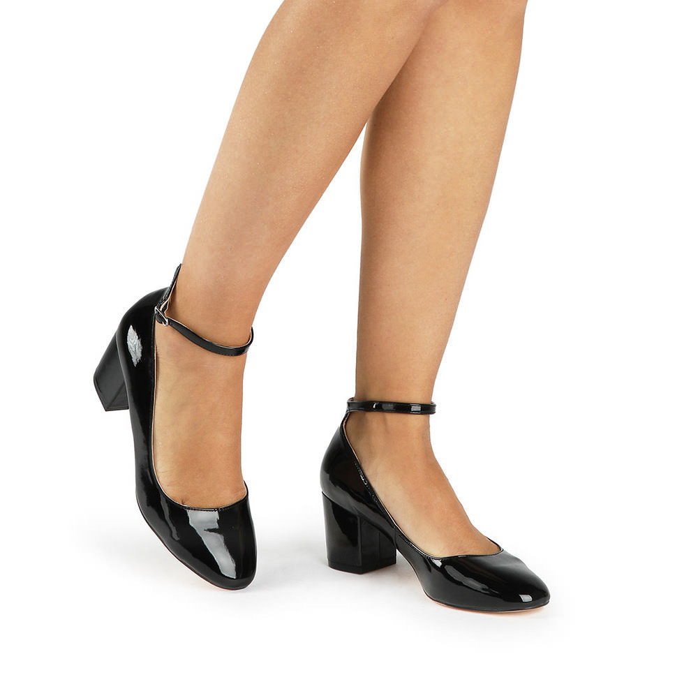 Buffalo Pumps in schwarz Lackleder-Optik