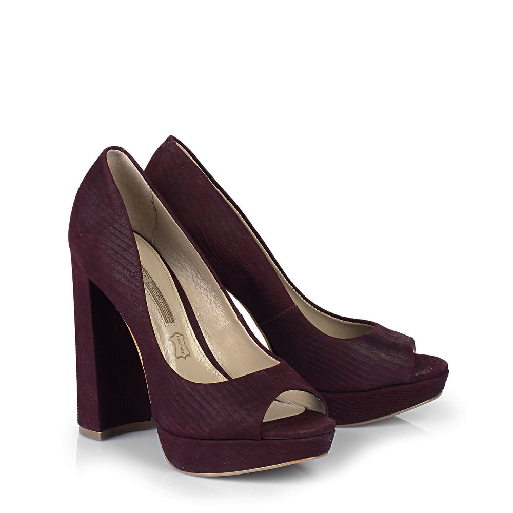 Buffalo Plateau Peep Toe in weinrot