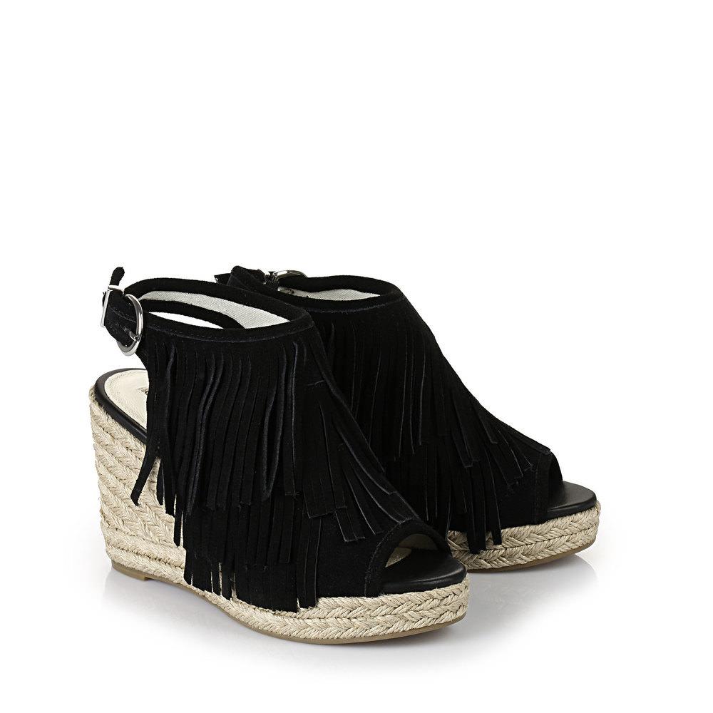 Buffalo Keil-Sandalette in schwarz