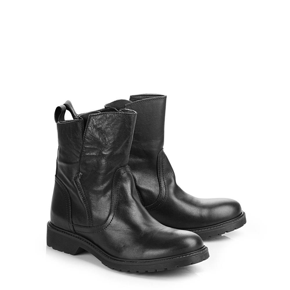 Buffalo Booties in schwarz aus Leder