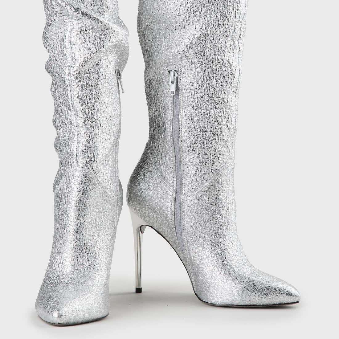 Silver Faux Overknee Leather Frana Boots c4j3AR5qL