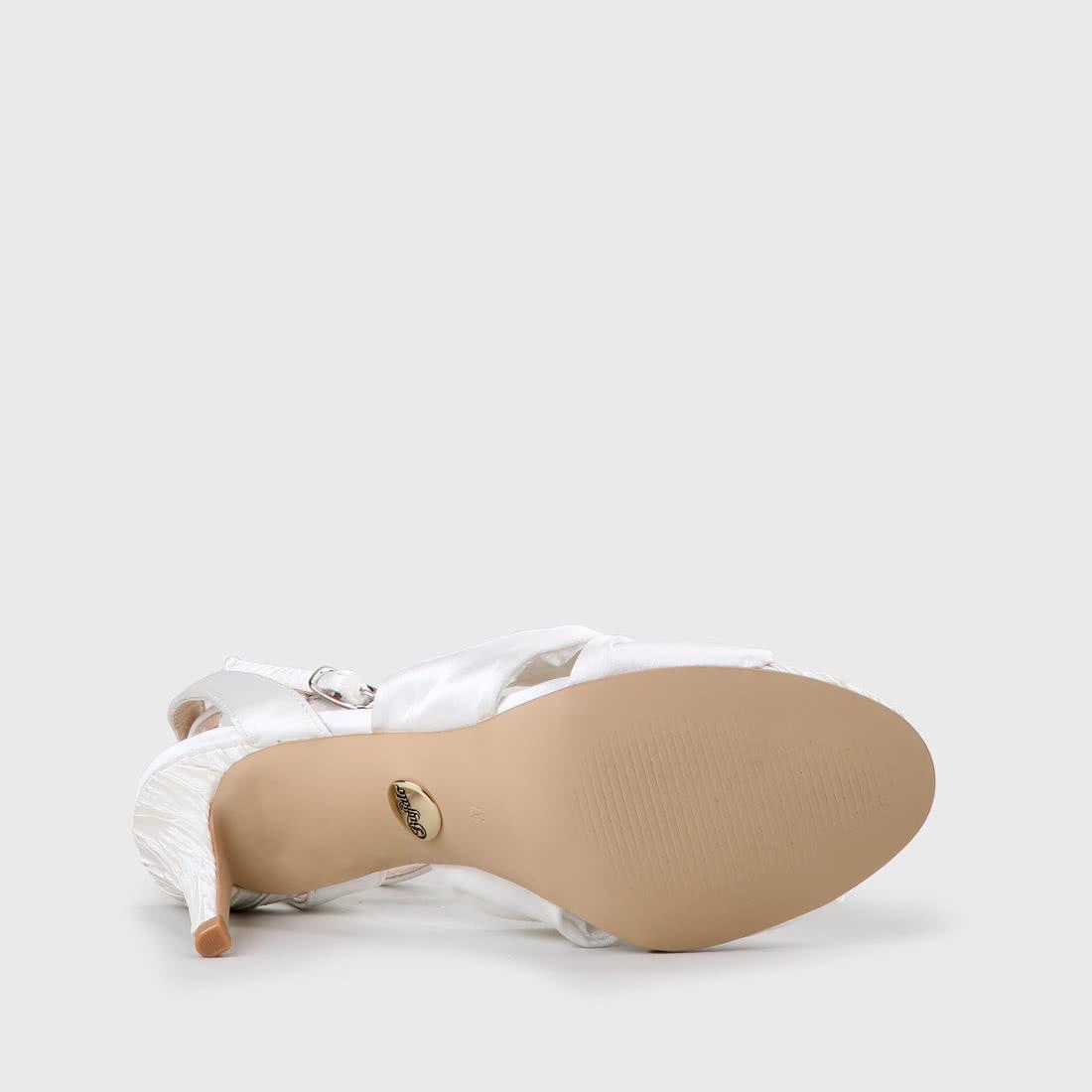 Ebru Aus Weiß Ebru Sandalette Aus Sandalette Satin NO8n0wPkX