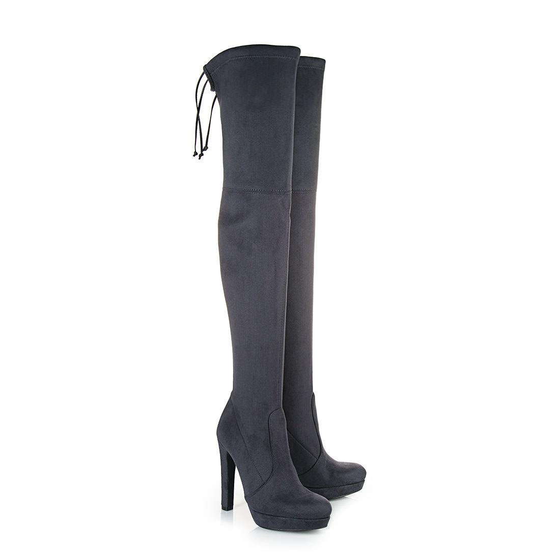 Overknee-Stiefel in anthrazit mit Blockabsatz Buffalo vVZVExJR