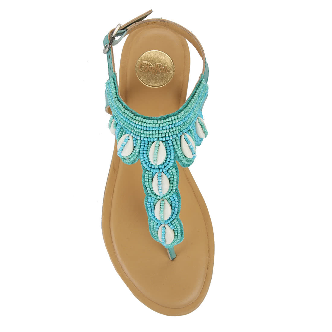 a2f4c5c98eca Buffalo sandals in turquoise with shells and pearls buy online in ...