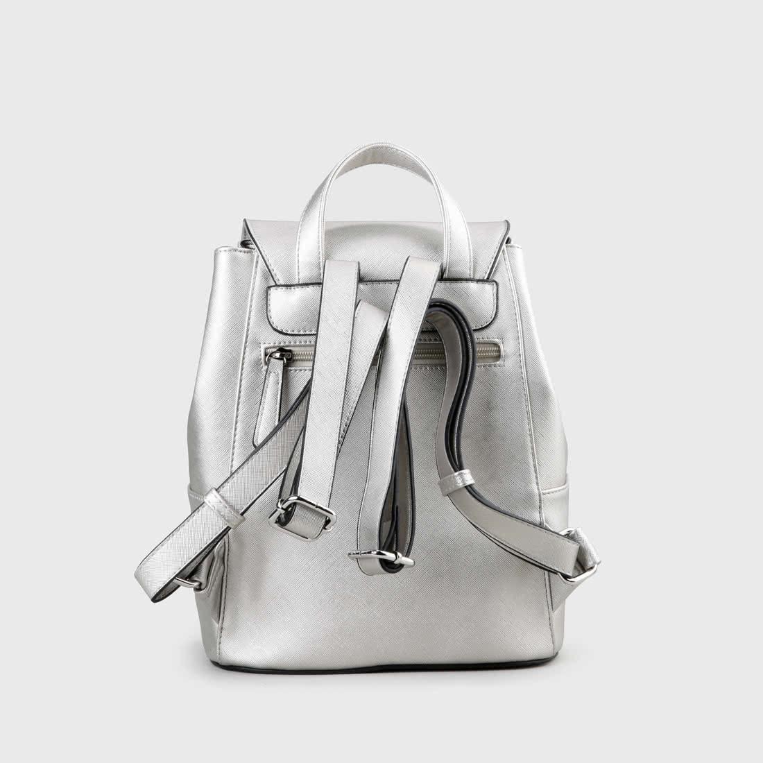 3f793d379b8fa Clara Rucksack Lederoptik Metallic silber online kaufen
