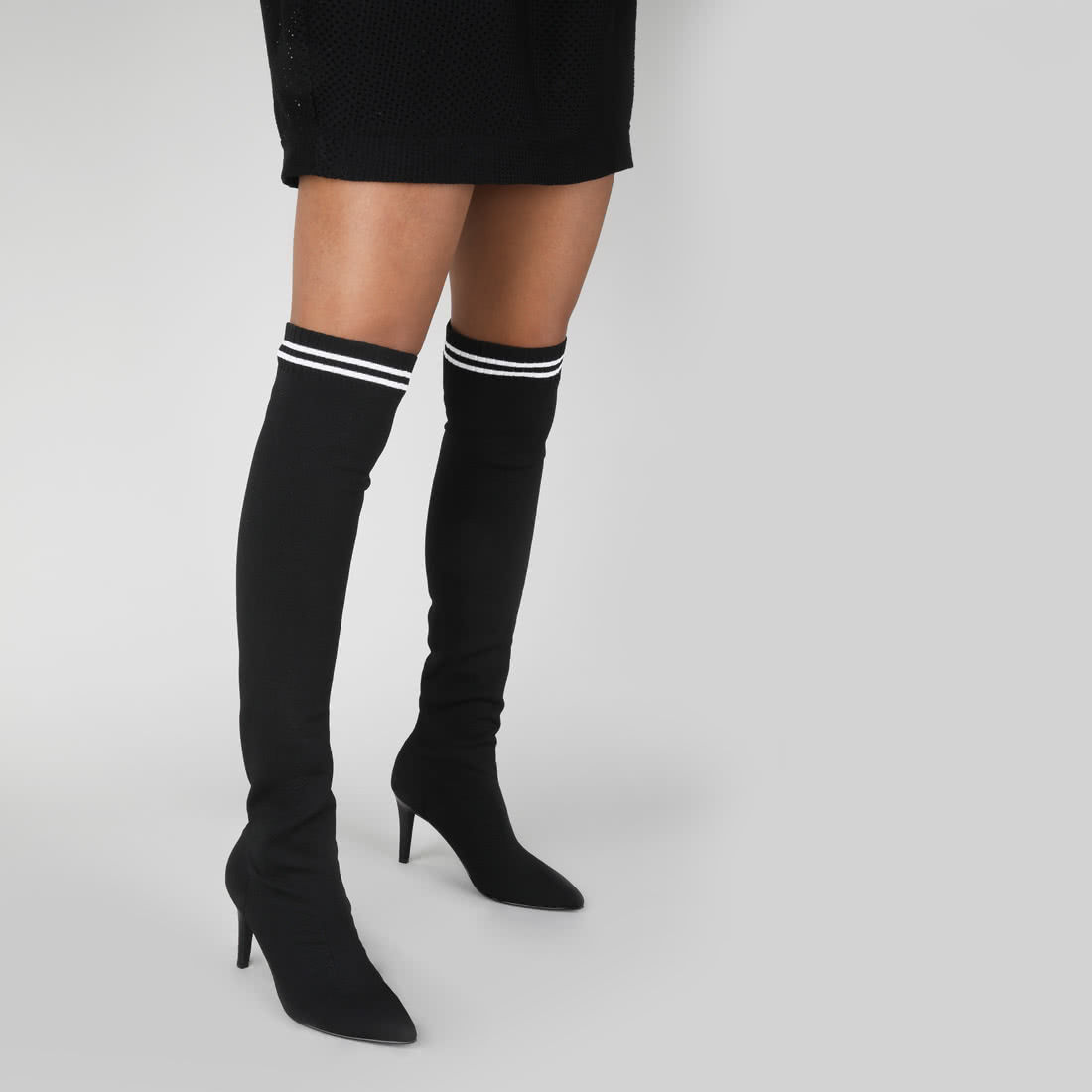 lemon drop overknee stiefel mit strick schwarz wei online. Black Bedroom Furniture Sets. Home Design Ideas