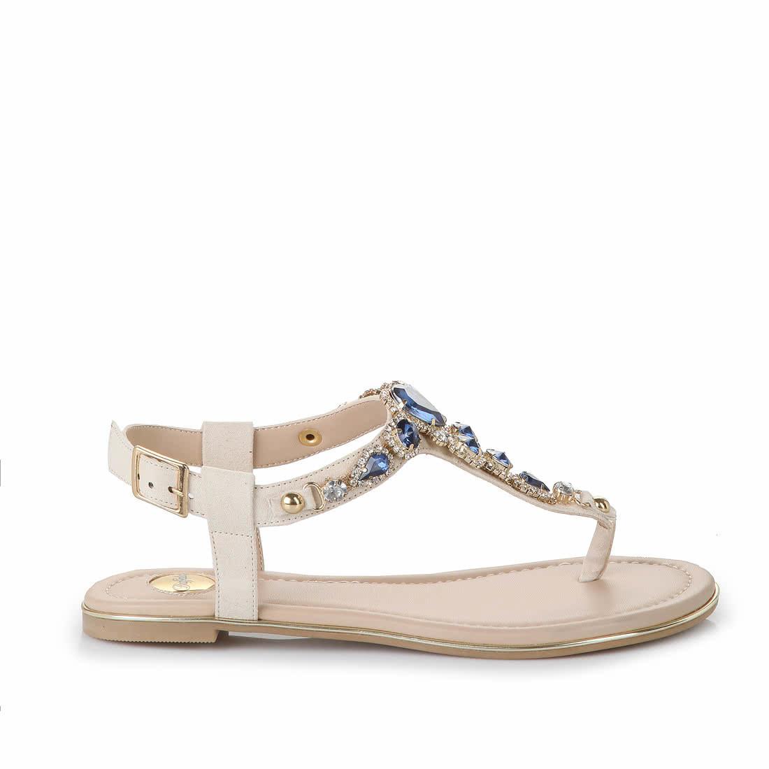 online retailer 8aa81 ca9fa Buffalo Zehentrenner in beige mit blauen Steinen online ...