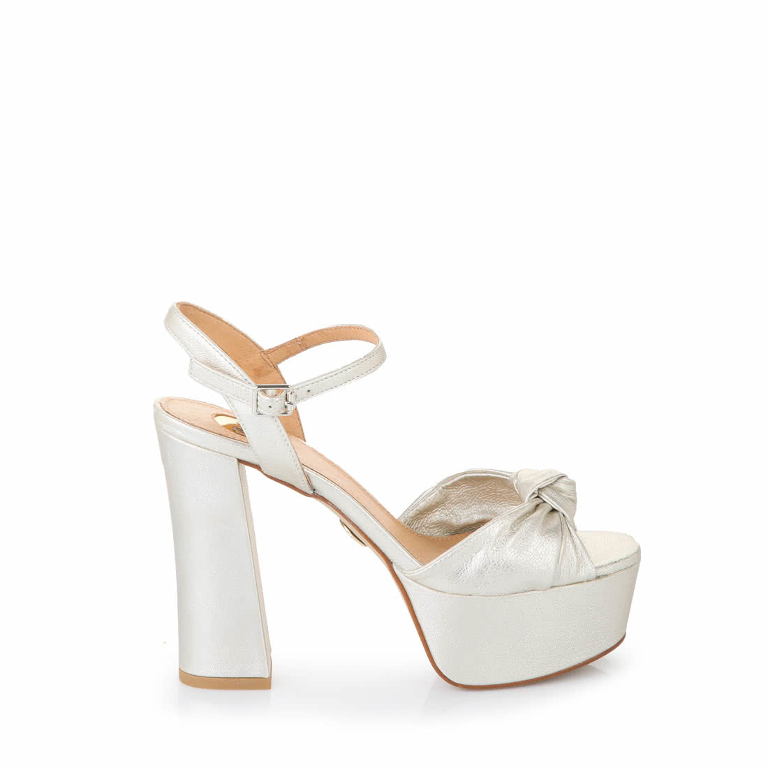 Buffalo silver metallic platform sandals with knots buy