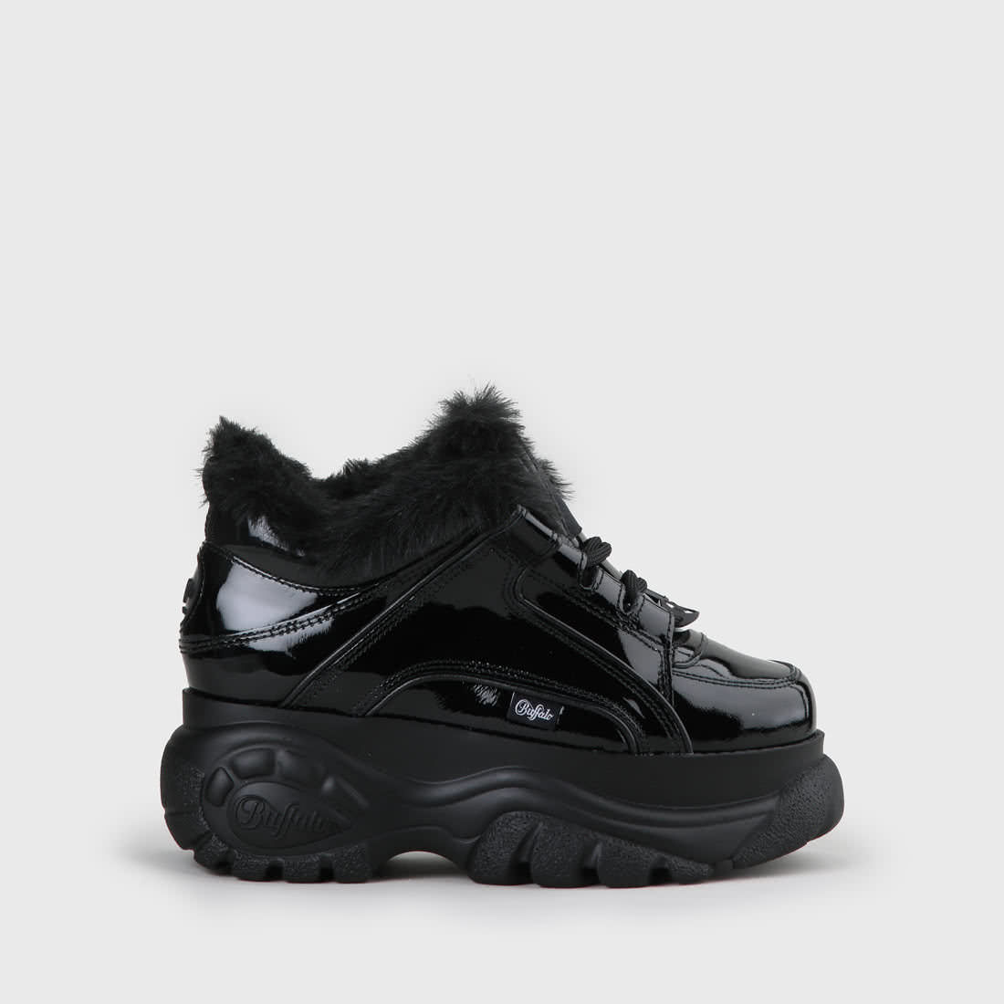 first look shop authorized site Buffalo Classic Platform Sneaker Patent Leather Black buy online ...