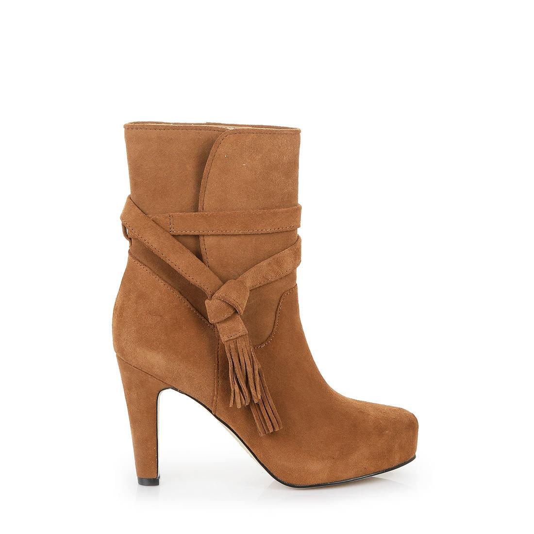 sports shoes 99f55 4652d Buffalo Plateau-Stiefelette in cognac aus Veloursleder ...