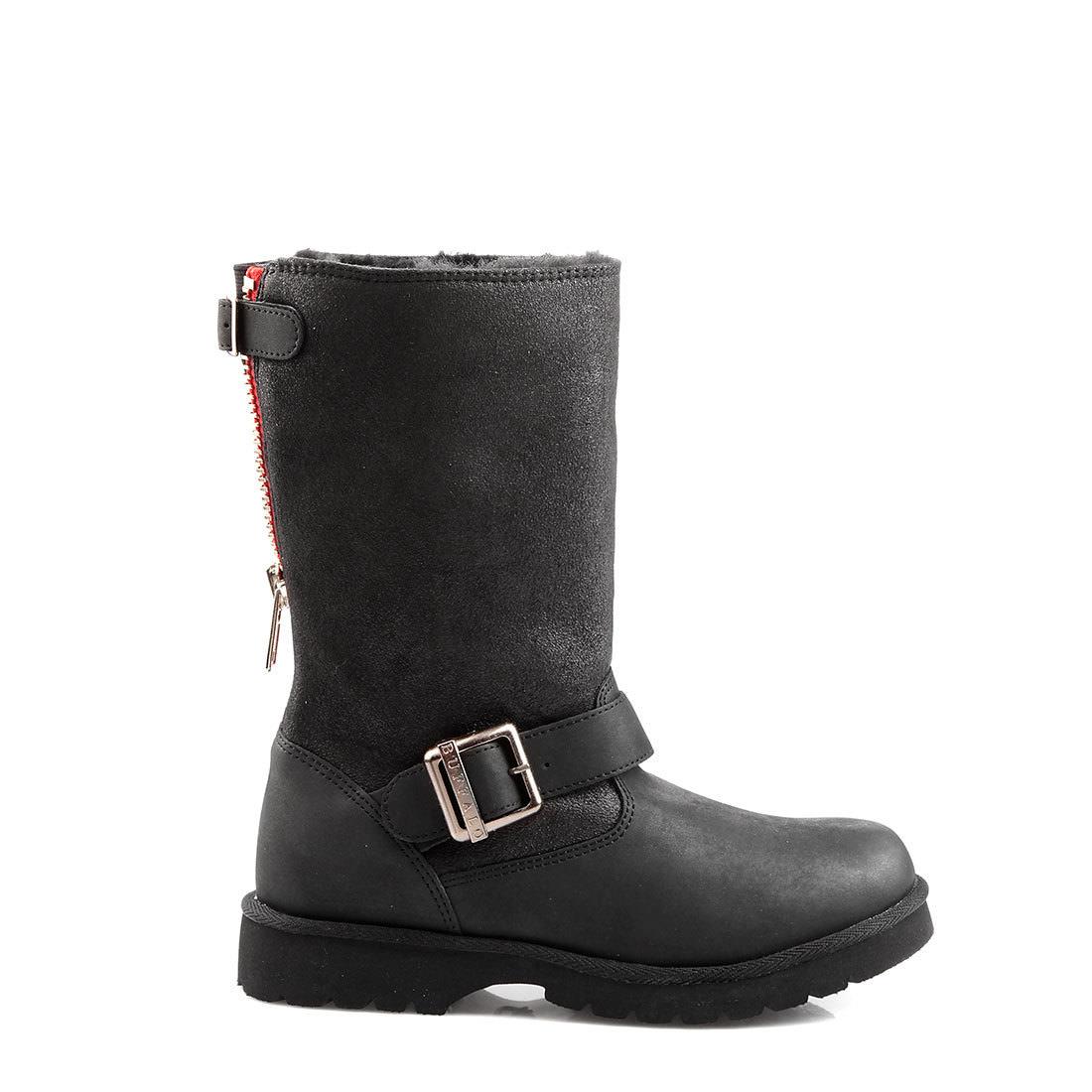 Lined Buffalo biker boots in black buy online in BUFFALO ...