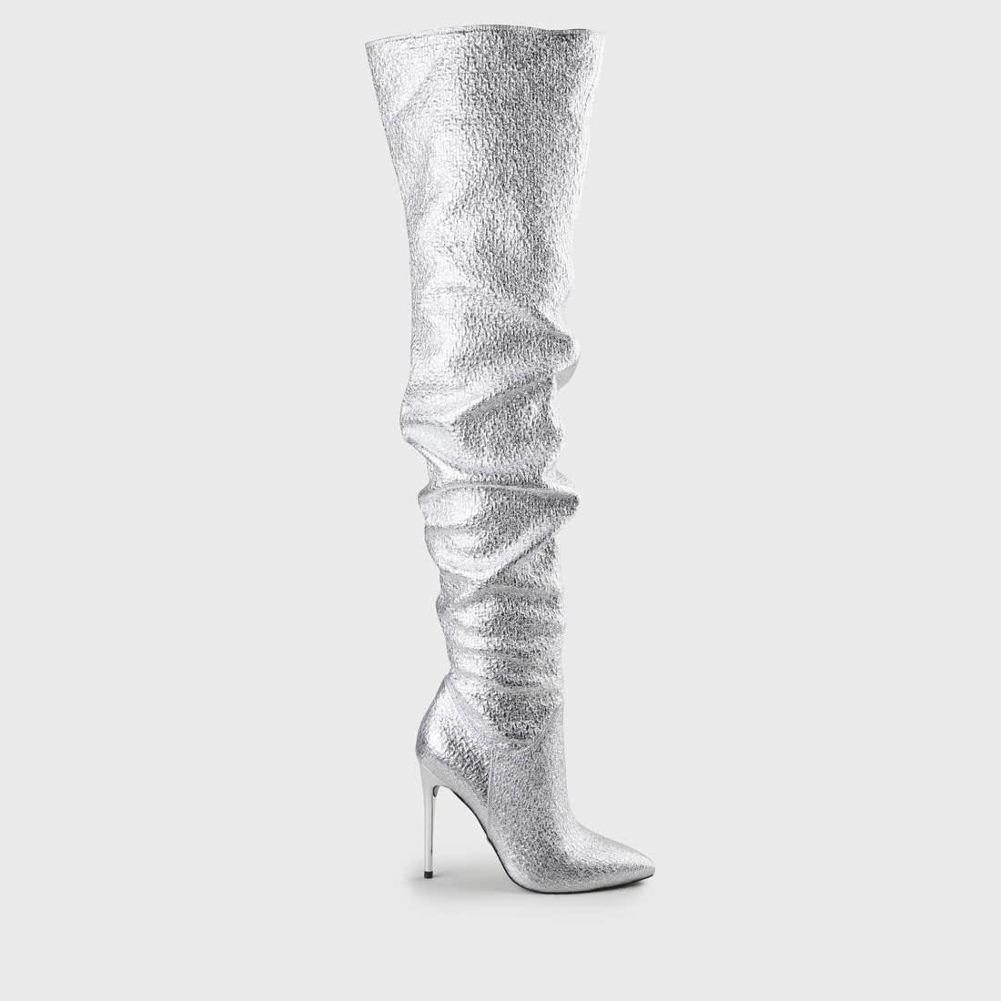 release date: c125d 90917 Frana Overknee-Stiefel aus Kunstleder silber