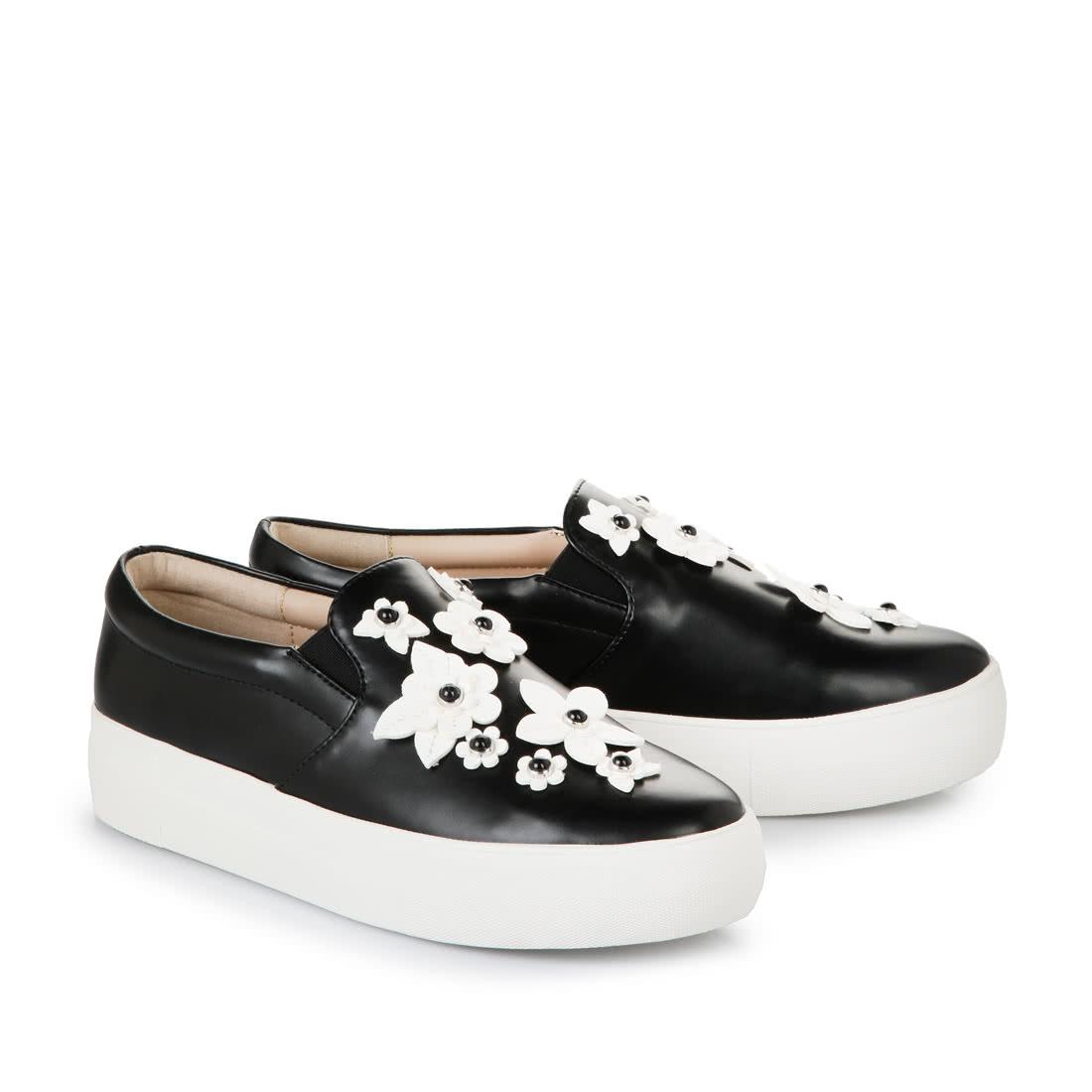 Buffalo Black Slip Ons With Flower Appliqu 233 Buy Online In