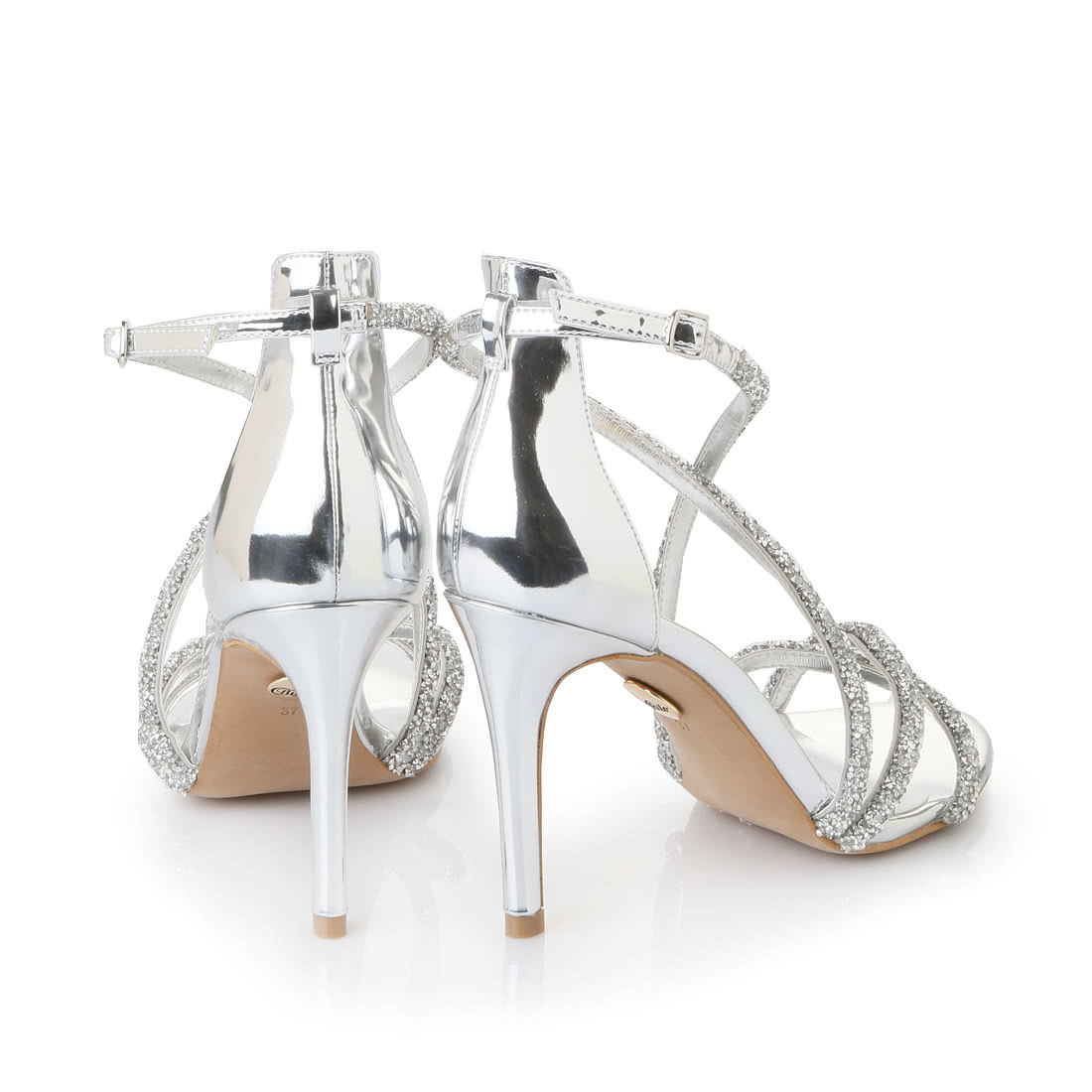 0097486bbe3 Buffalo strappy high-heeled sandals in silver glitter look buy ...