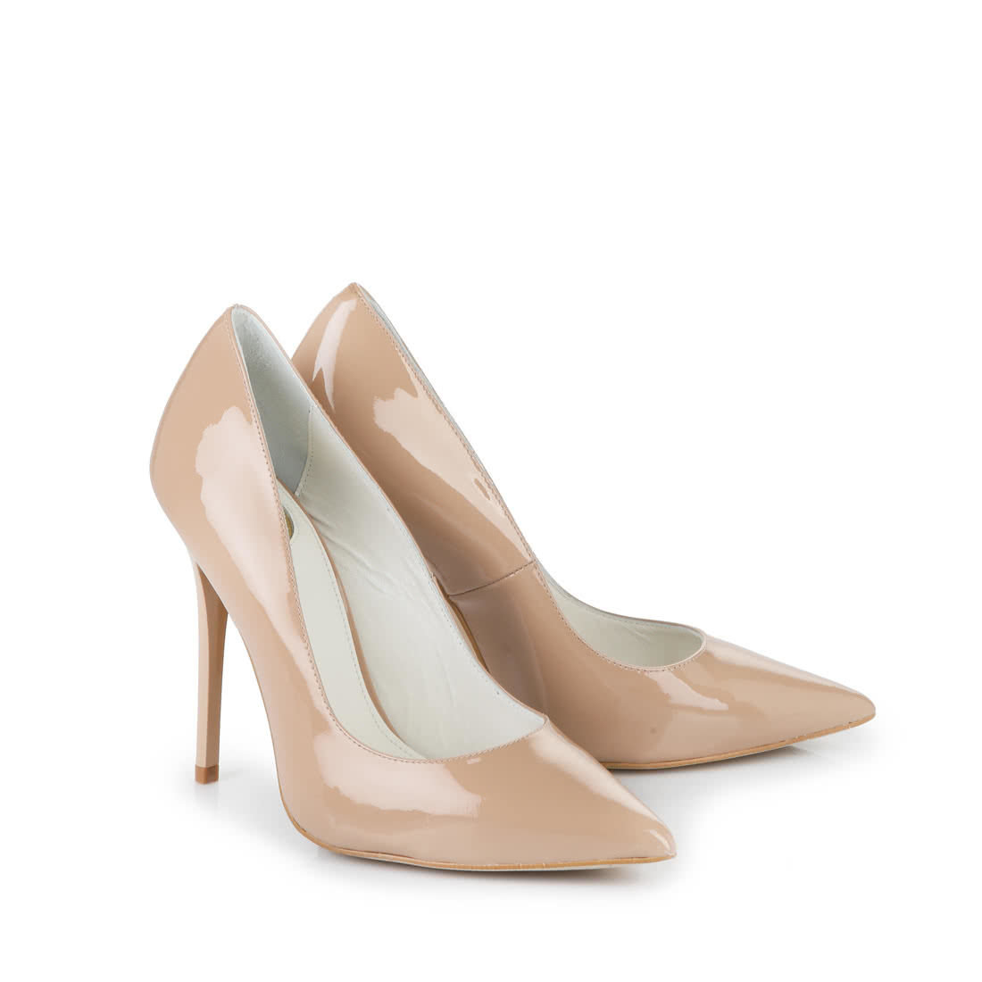 Buffalo pointed pumps patent leather 11 cm nude buy online