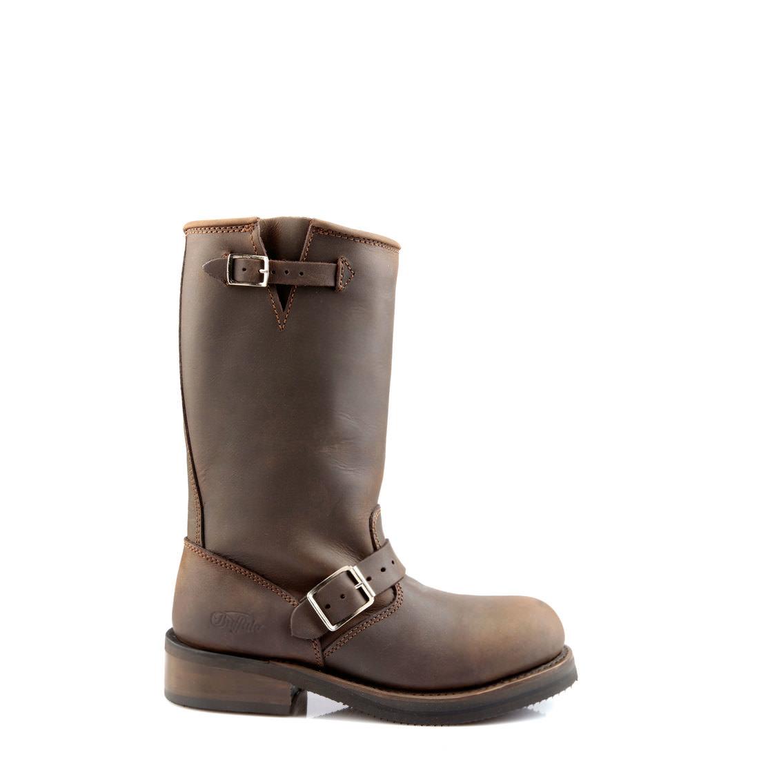 42606a9adfe530 Buffalo Biker-Boots aus braunem Leder mit Stahlkappe online kaufen ...