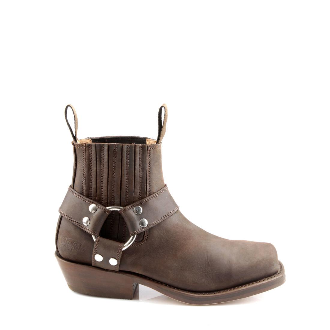Buffalo leather biker boots in brown buy online in BUFFALO ...