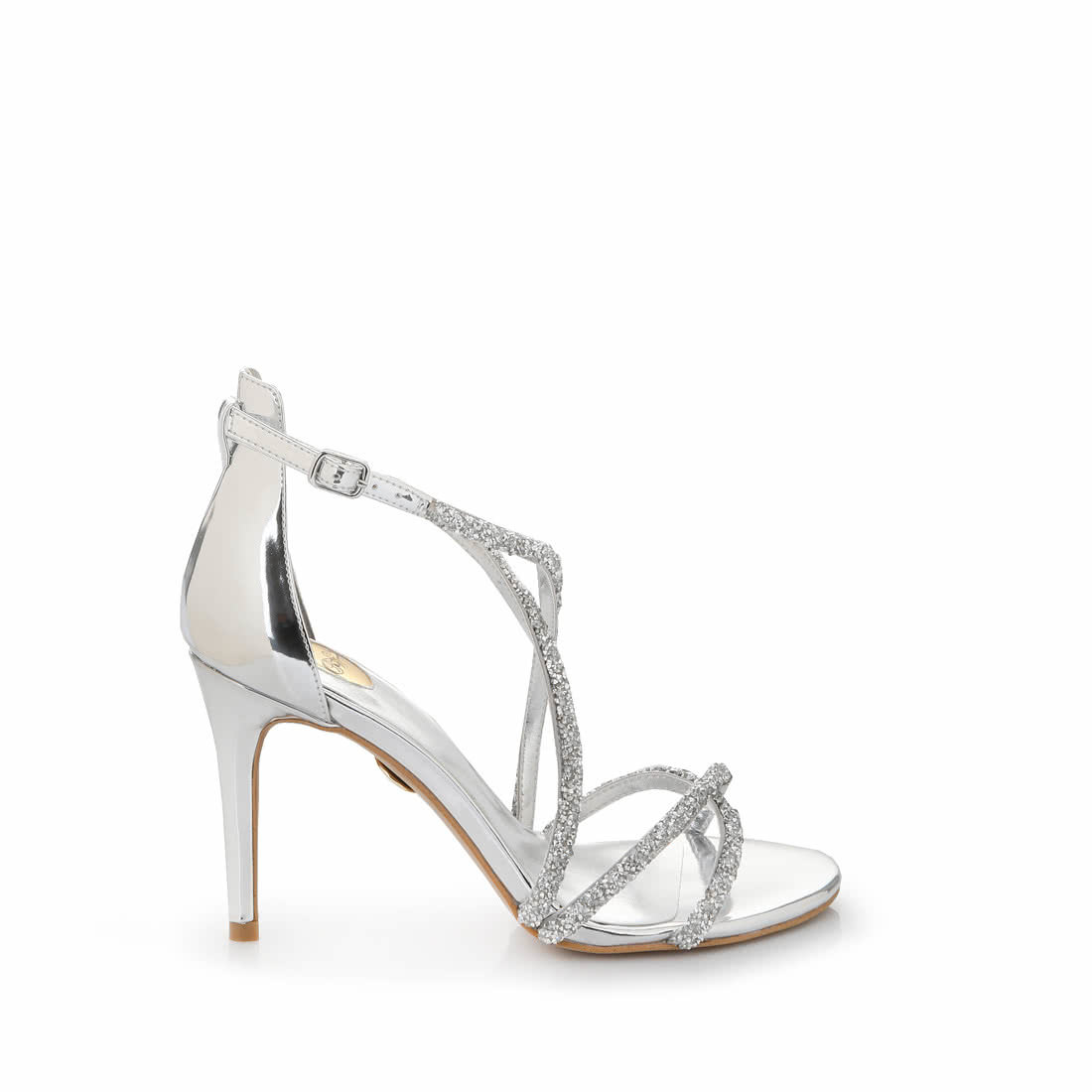 0fe1b700f57 Buffalo strappy high-heeled sandals in silver glitter look buy ...