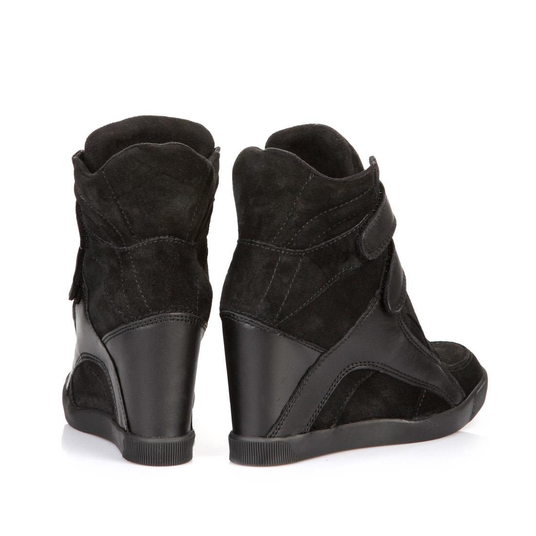 Black Wedge Heel Sneakers