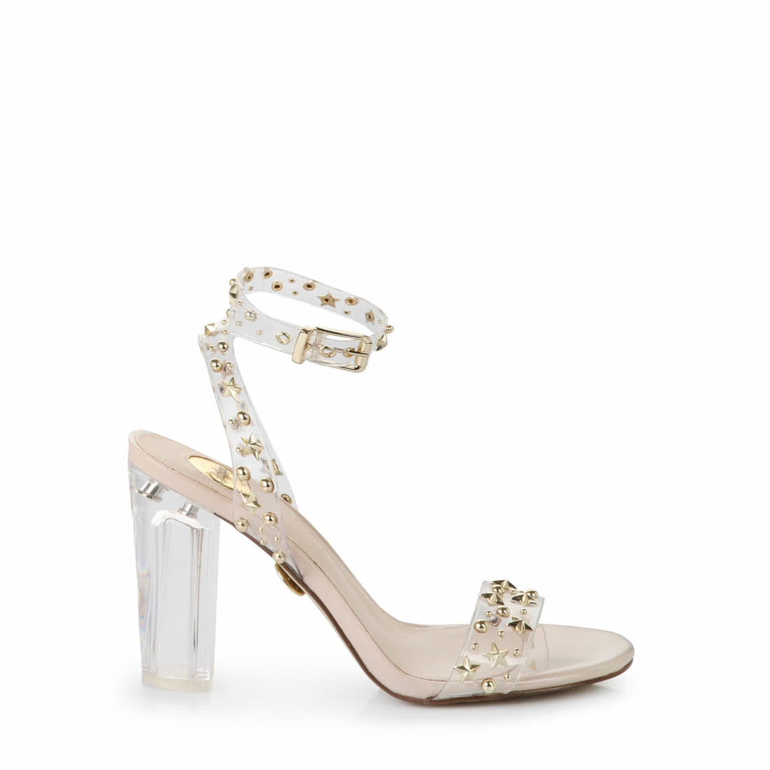 Buffalo ankle-strap sandal studs transparent-beige buy online in ...
