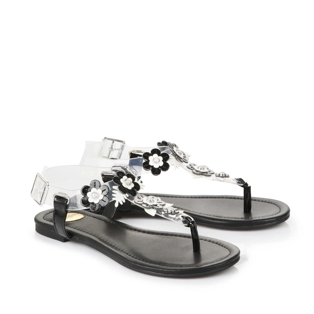 buffalo sandalen mit blumen applikationen in schwarz. Black Bedroom Furniture Sets. Home Design Ideas