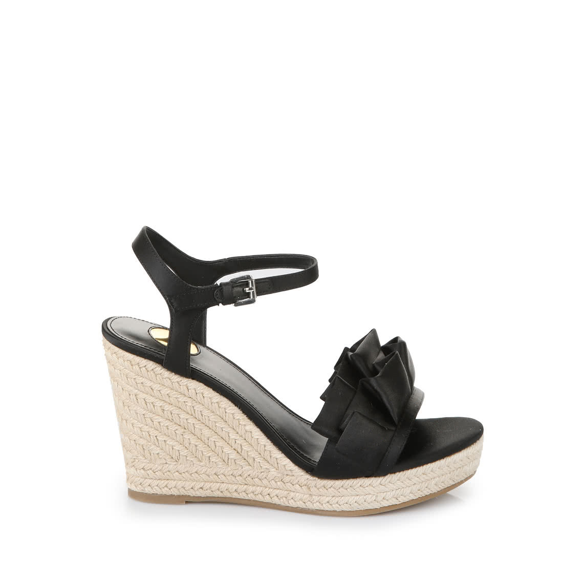 9b3d4c301fc Buffalo wedge sandals with frills in black buy online in BUFFALO ...