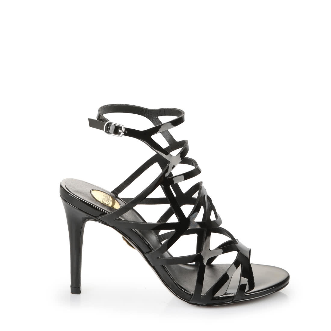 d2af0ab224fa BUFFALO Buffalo high-heeled sandals with cutouts in black faux patent  leather