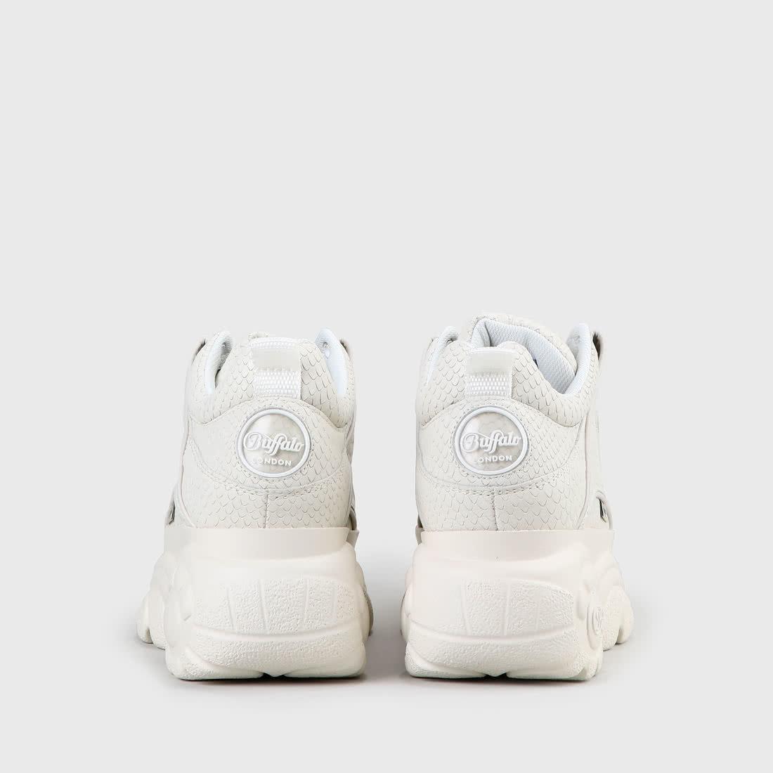 BUFFALO LONDON – Plateau Sneaker aus Leder – Weiß