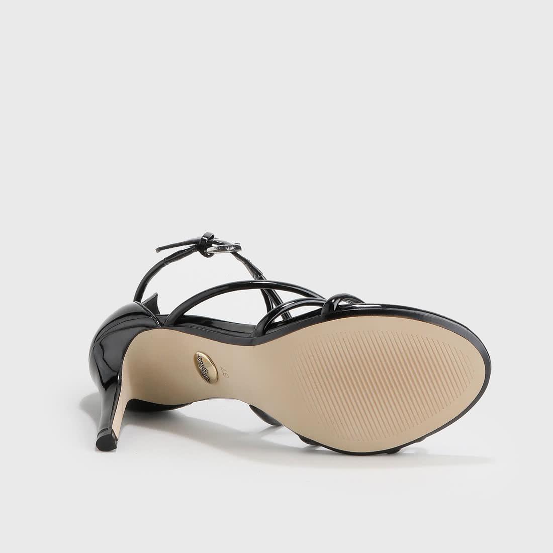 fb1ce86528d Asha sandales soirée aspect verni noir acheter à BUFFALO en ligne ...