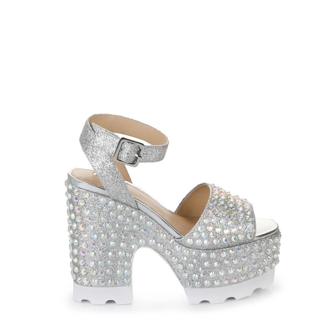eeec4a81c64408 BUFFALO Buffalo high-heeled sandals in silver glitter effect