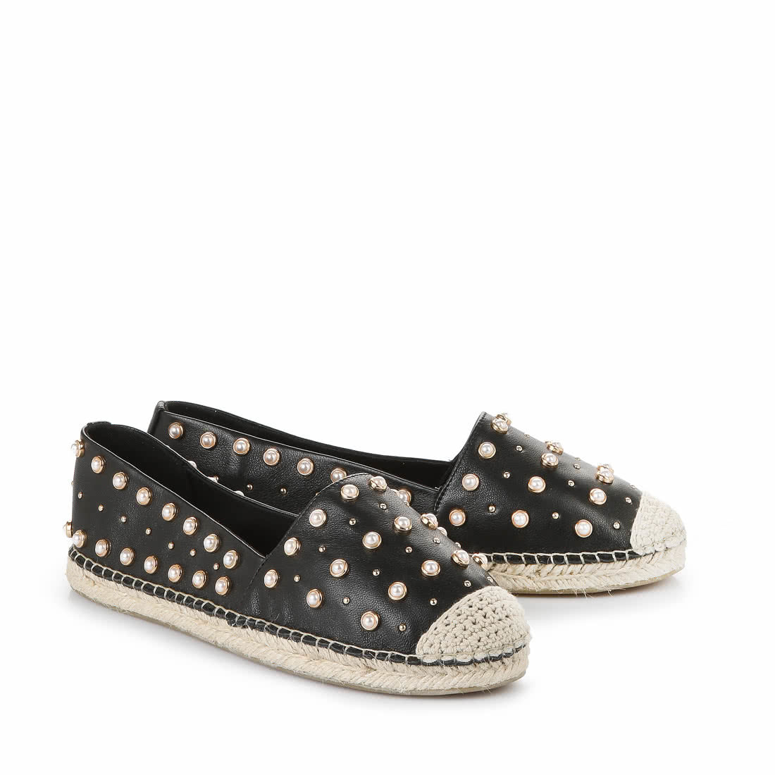 Buffalo Espadrilles In Black With White Pearls Buy Online