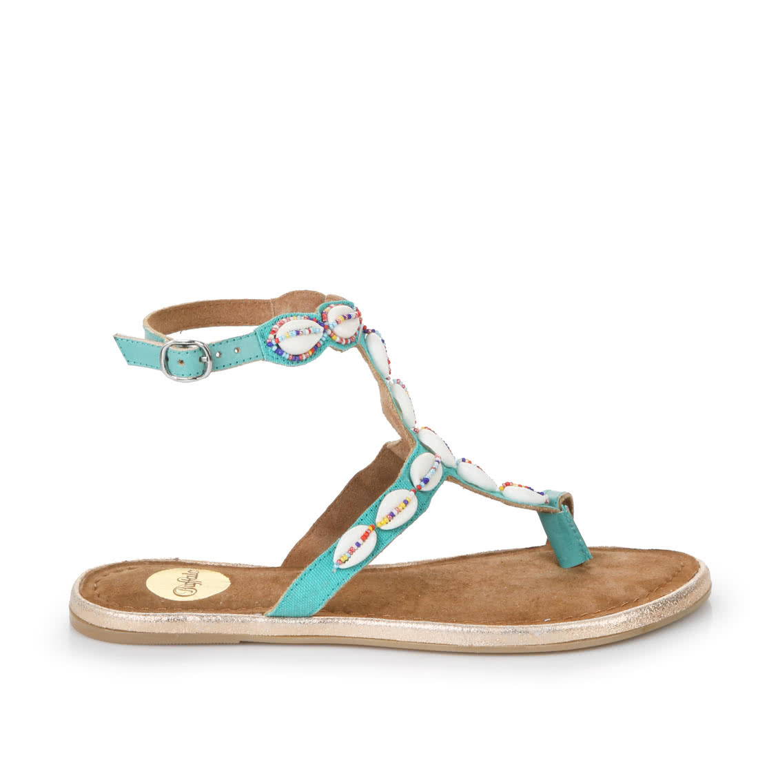 c9e173d8ac11 Buffalo flip flops in turquoise with shell embellishments buy online ...