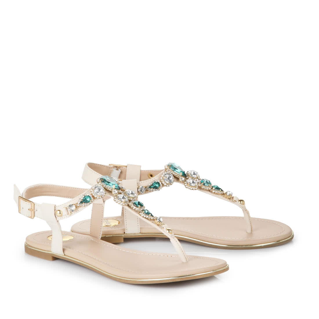 buffalo flip flops in beige with green stones buy online. Black Bedroom Furniture Sets. Home Design Ideas