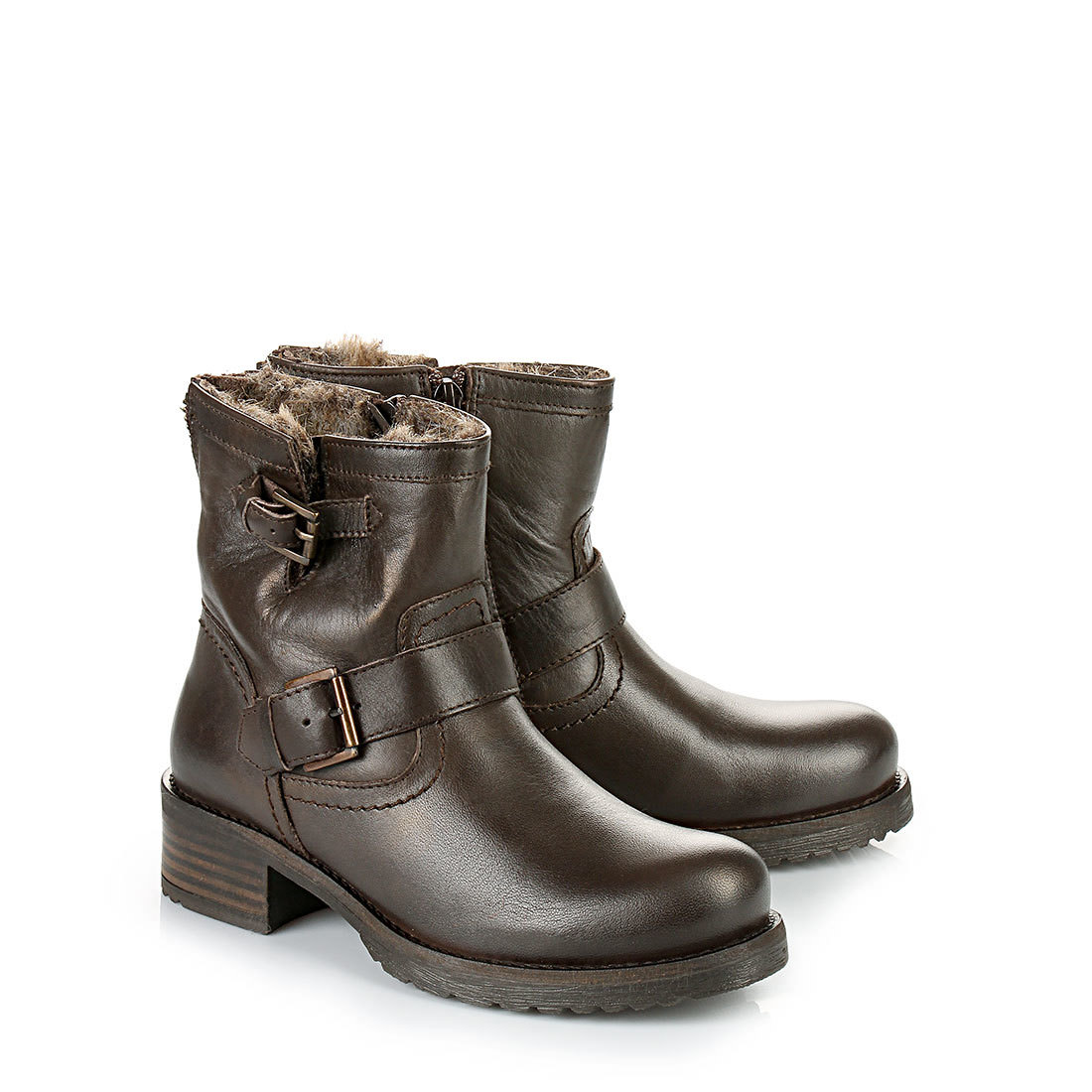 lined buffalo biker boots in dark brown buy online in. Black Bedroom Furniture Sets. Home Design Ideas