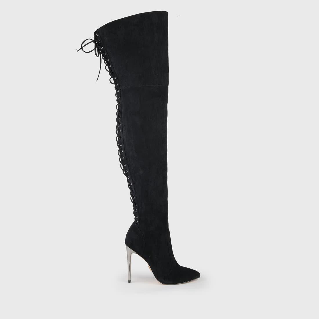 Fiete Overknee Boots Suede Look Black buy online in BUFFALO