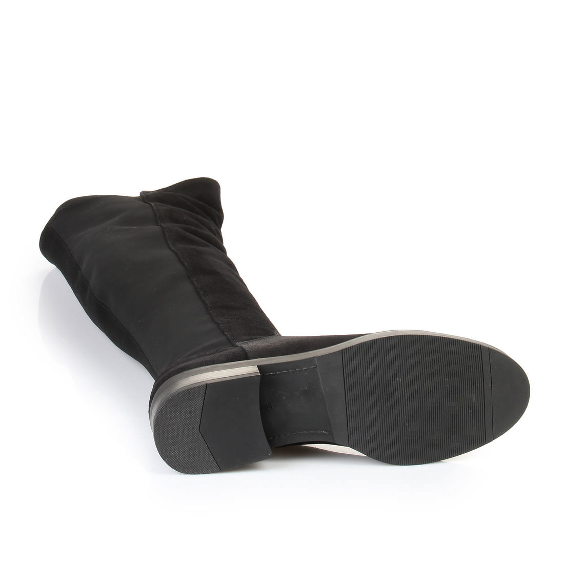 buffalo overknee stiefel in schwarz mit kleinem absatz. Black Bedroom Furniture Sets. Home Design Ideas
