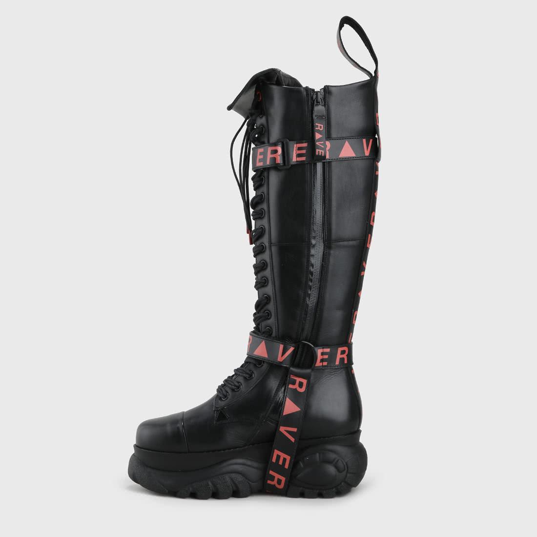premium selection af44b e43cb Patrick Mohr x BUFFALO London Rave High aus Leder schwarz/rot