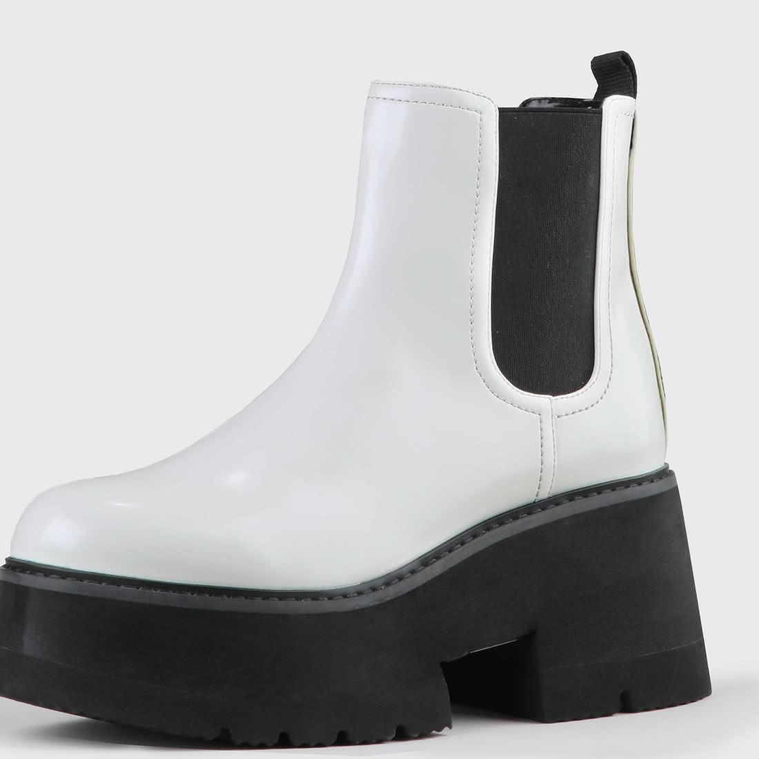 brand new 72e17 64cf2 Fita Chelsea-Boot aus Kunstleder schwarz-weiß