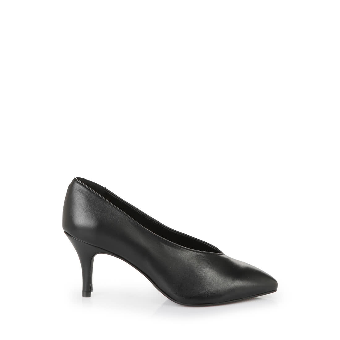 a373271dfdbf Buffalo pointed-toe V-cut heels in black smooth leather buy online ...