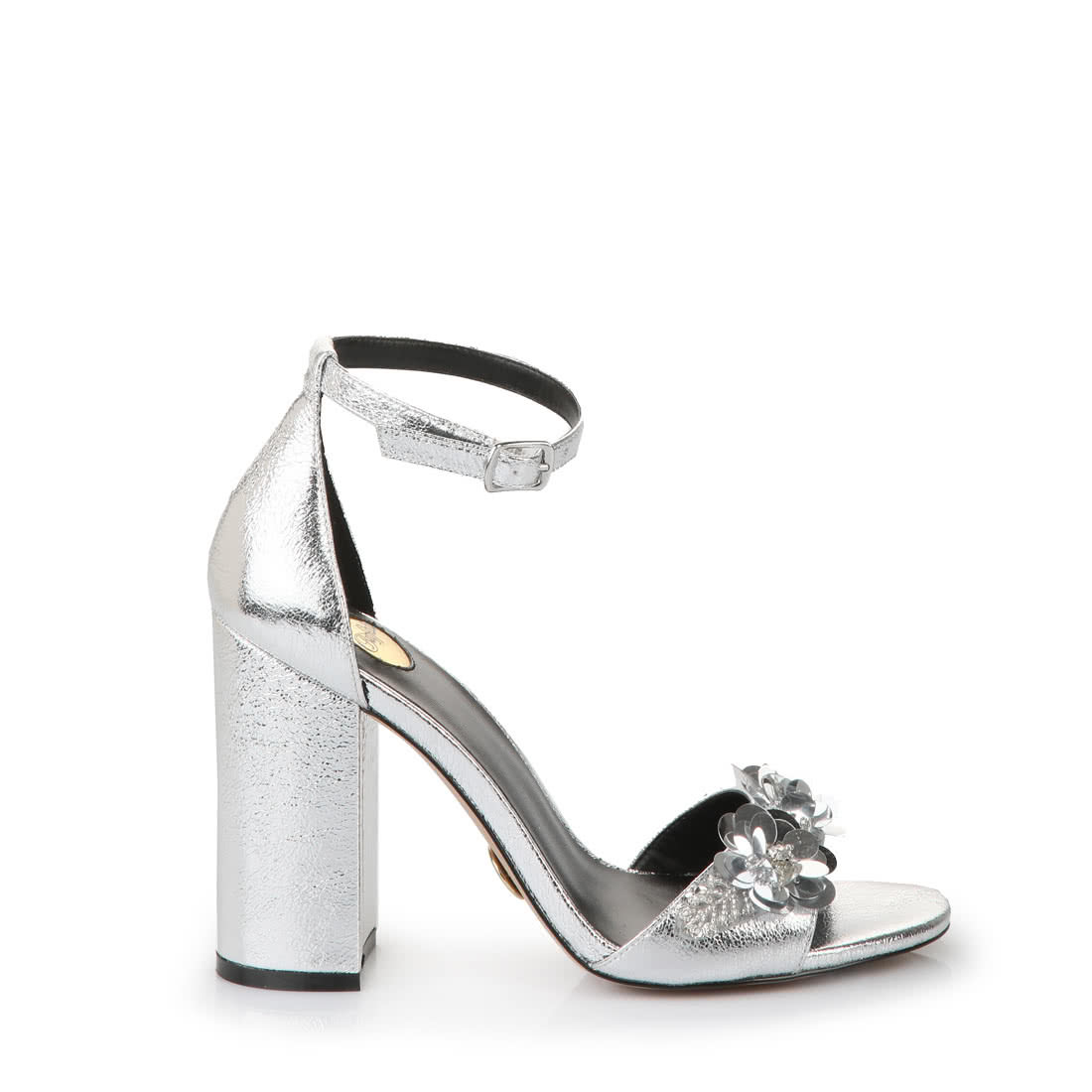 ff9cf100a5f81c Buffalo high-heeled sandals in silver with decorative flower buy ...