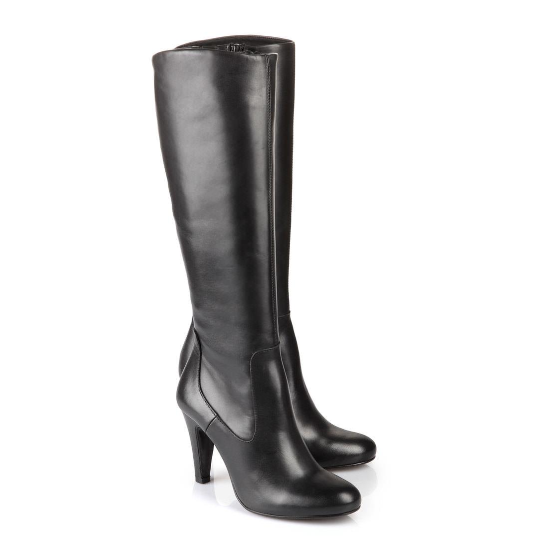 Buffalo stiefel in schwarz aus glattem leder online kaufen for Kuchenstuhle leder schwarz