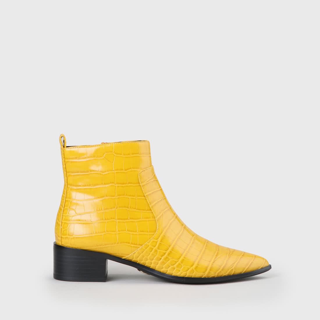 meilleur grossiste 2019 meilleurs nouvelle collection Bottine zippée Fiona aspect crocodile jaune moutarde