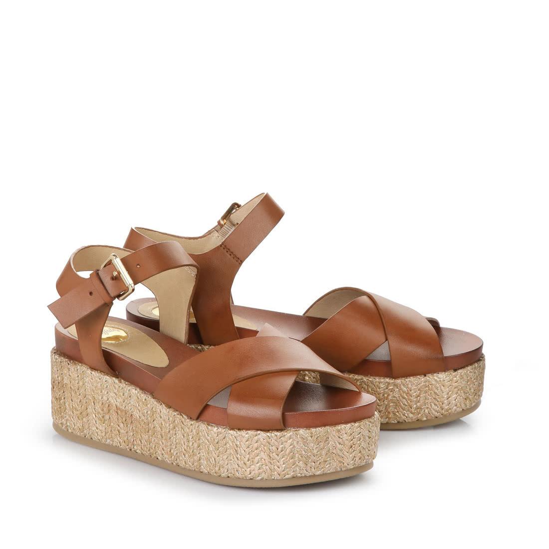 Buffalo Wedge Sandals In Cognac Buy Online In Buffalo