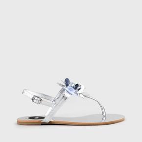 b73b62de3 Emberly Sandal Leather Look Metallic Silver