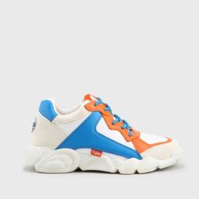 1a8ee483707249 CLD Cairo Sneaker aus Mesh und Lederoptik weiß blau orange
