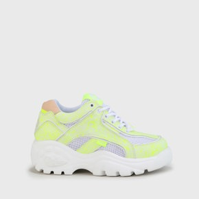 7c3133aba525c5 Eleonore Sneaker Low mesh and leather white   neon yellow