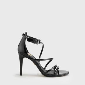 Asha Party Ankle-Strap Sandal varnish look black