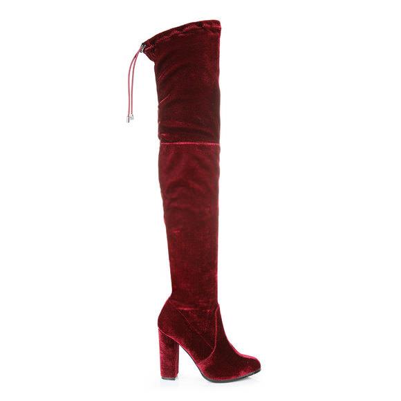 Outlet Mode-Stil Overknee-Stiefel in weinrot aus Samt Buffalo Freies Verschiffen  Wie Viel Shop Für Online Spielraum Sast 9Zf9IMWTvM